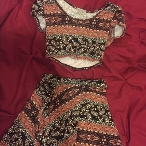Bohemian-Style Crop Top and Skirt Pair