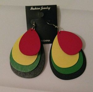 Rasta Wooden Tear Drop Earrings