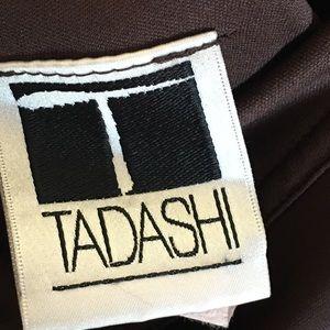 Tadashi fitted brown off shoulder dress