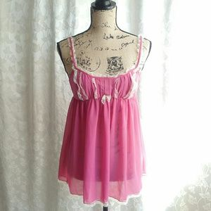 Victoria's Secret pink babydoll slip with lace