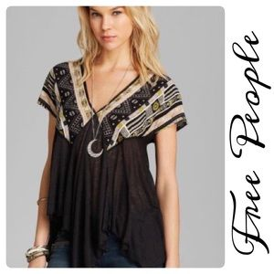 Free People We Are Golden Deep V Tunic Black Aztec