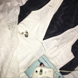 Forever 21 White V cut Lace Dress
