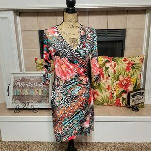Frank Lyman design multi colored faux wrap dress 8