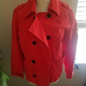 Old Navy, red denim jacket