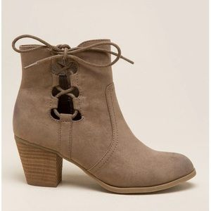 Taupe Distressed Side Tie Ankle Boots