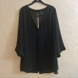 Size 3 Torrid Black Chiffon Sheer Tunic