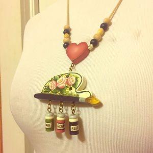 Unique Vintage Handpainted Wooden Necklace