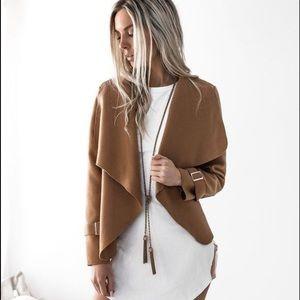 Jackets & Blazers - NWT Brown Waterfall Autumn Jacket Buckle Sleeve 🍂