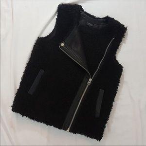 Topshop Vest Faux Leather Sherpa Fleece