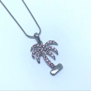 Baby pink palm tree fashion pendant & necklace