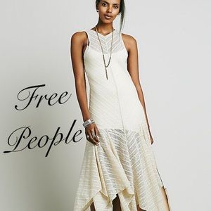 Free People Lila Maxi Asymmetric Hem Lace Dress