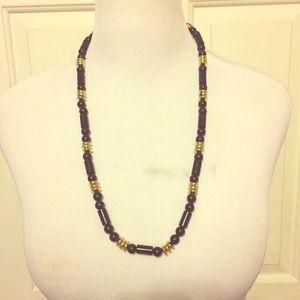 Vintage Black & Gold Beaded Necklace