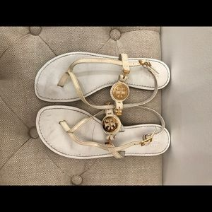 Tory Burch Thora T Strap Thong Flip Flop White