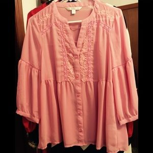 Gorgeous NWOT pink sheer blouse