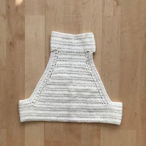 Crochet turtle neck crop top
