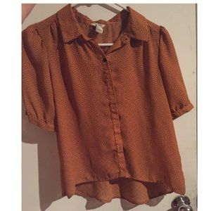 Mustard orange indie collar blouse