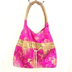 Hot pink embroidered shoulder bag 11x12x3.5