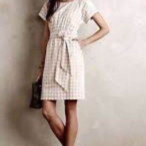 Anthropologie Tailored Gingham Dress with Bow
