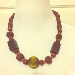 Gorgeous Midcentury Wooden Necklace w/ Metal Ball