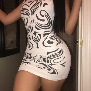 White dress with black design