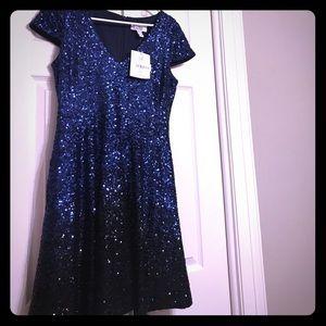 Blue-black hombre sequin formal dress