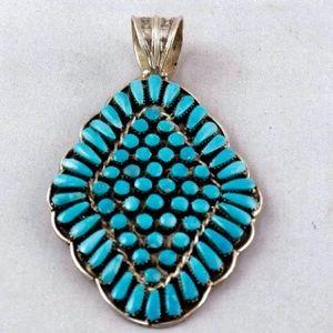 Zuni Turquoise Snake Eye Sterling Silver Pendant