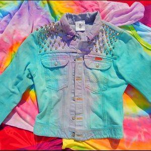 ragged priest X LF studded tie dye jean jacket