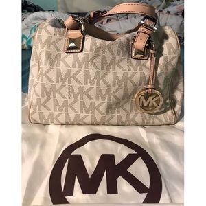 Michael Kors MK White Grayson Medium Satchel