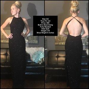 Black Floor Length Fully Beaded Prom Dress