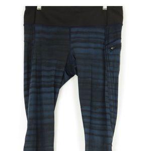 Lululemon blue and black stripe crop athletic pant