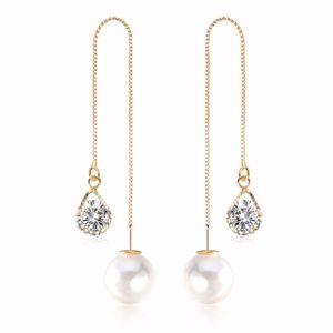 CZ Long Pearl Earrings