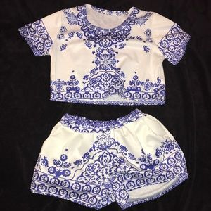 Two piece matching set shirt and short