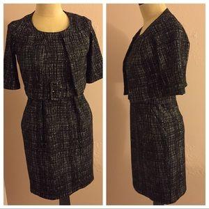 Black & White Geo Print Dress Suit Cropped 6 Belt