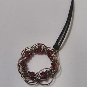 Rose Red Wired Sculpted Floral Round Necklace