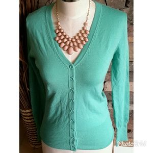 Green Button Down V Neck Sweater