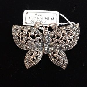 Vtg Sterling and Marcasite Butterfly Brooch