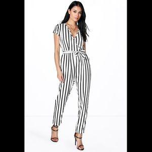 Jenna Capped sleeve striped jumpsuit uk size 8