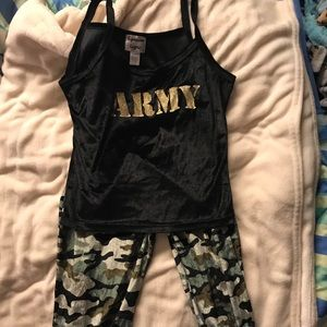 Super soft Army pjs. Tank top and long bottoms.