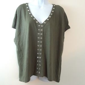 A.N.A L OLIVE PEARL STUDDED V-NECK KNIT TOP