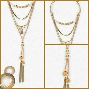 Lucky Brand Layered Tassel Necklace