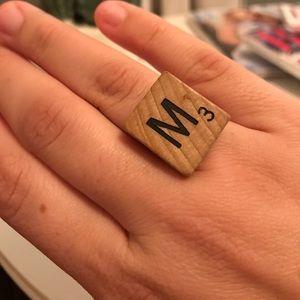 Scrabble piece M ring