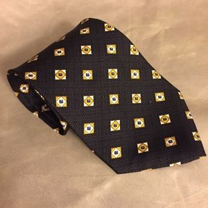 Joseph Abboud Black & Gold Geometric 100% Silk Tie