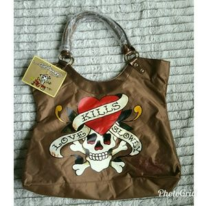 Ed Hardy Brown Tote Bag