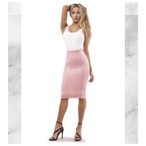 Dresses & Skirts - Blush Suede Midi Skirt