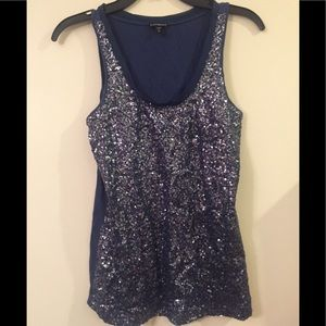 Express blue size S sequin tank