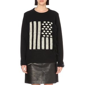 Coach Women's Black Flag Intarsia Sweater