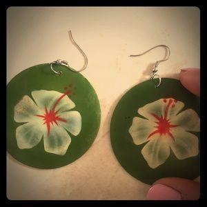 Happy hibiscus handpainted laminate shell earrings