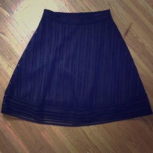 J Crew Striped Eyelet Skirt, Black, Size 00, NWT