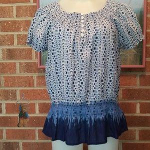 Izod blue & white peplum peasant blouse