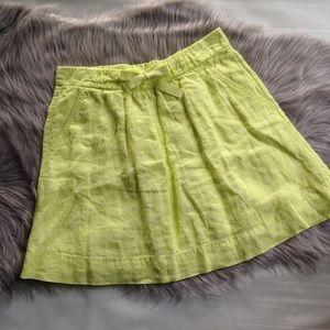 J. Crew neon yellow linen a line skirt pocket 2